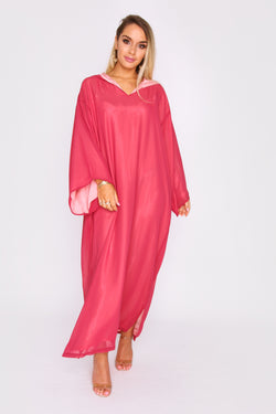 Djellaba Kmiss Basma Oversized Contrast Lining Hooded V-Neck Maxi Dress in Raspberry