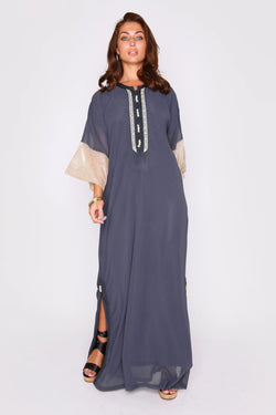 Kaftan Mina Metallic Cropped Sleeve Long Maxi Dress in Marine Blue