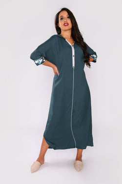 Djellaba Candice Embroidered Cropped Sleeve Hooded Maxi Dress in Petrol