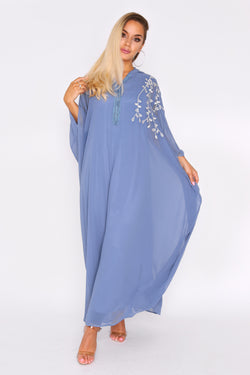 Djellaba Natalie Embroidered Long Sleeve Lightweight Hooded Maxi Dress in Blue