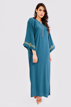Kaftan Lila Embroidered Long Sleeve Maxi Dress Abaya in Petrol