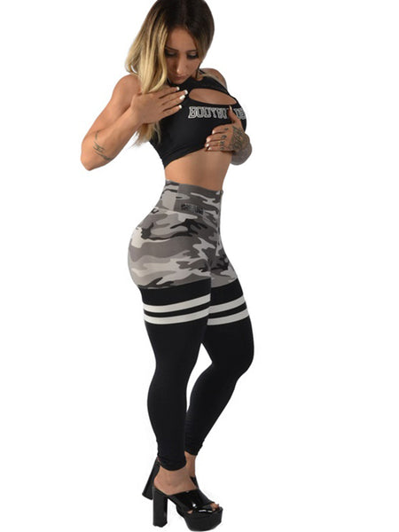 High Waist Army Socks Legging