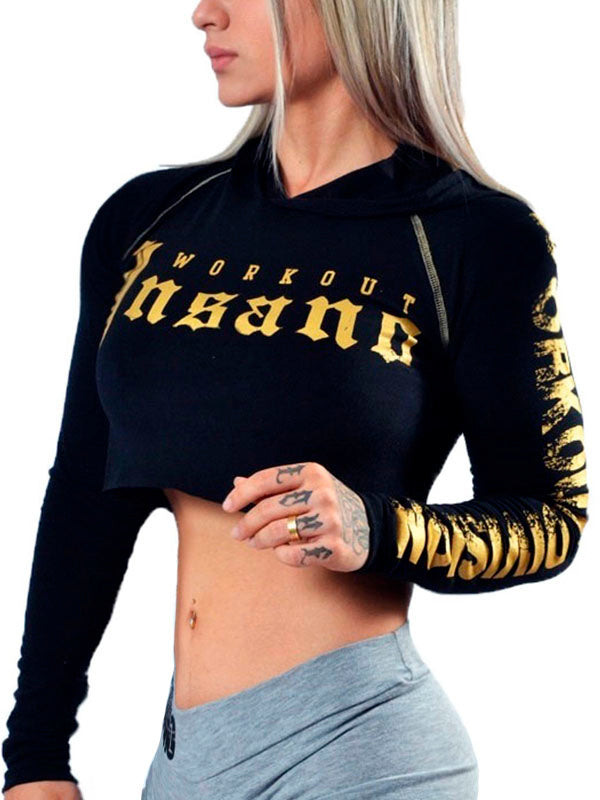 Crop Hooded Long Sleeve Gold Gothic