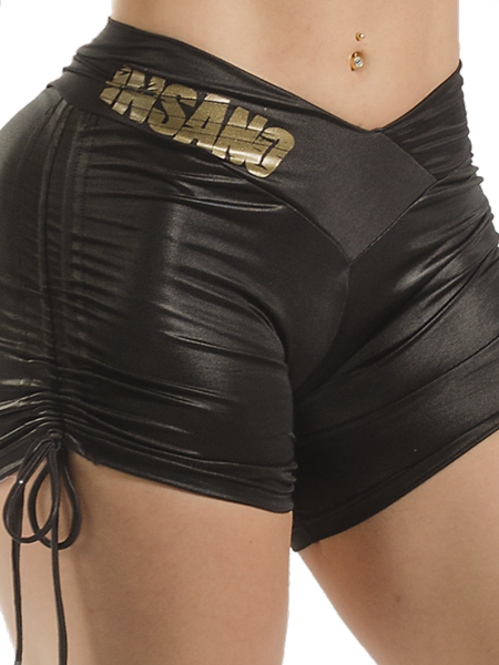 Side String Shiny Cire V Waist Shorts