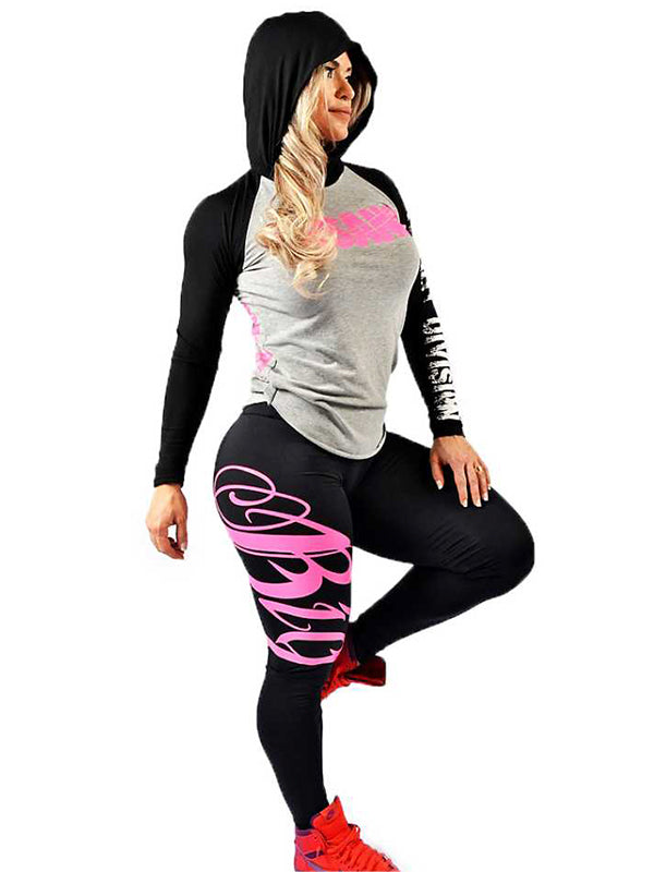 Two Tone Hooded Long Sleeve Pink Destroyer Print