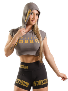 Hooded Crop Tank Gothic Golden Print