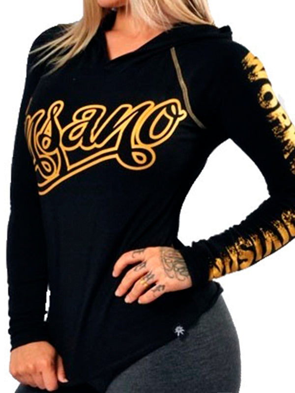 Hooded Raglan Long Sleeve Shirt Gold Curly