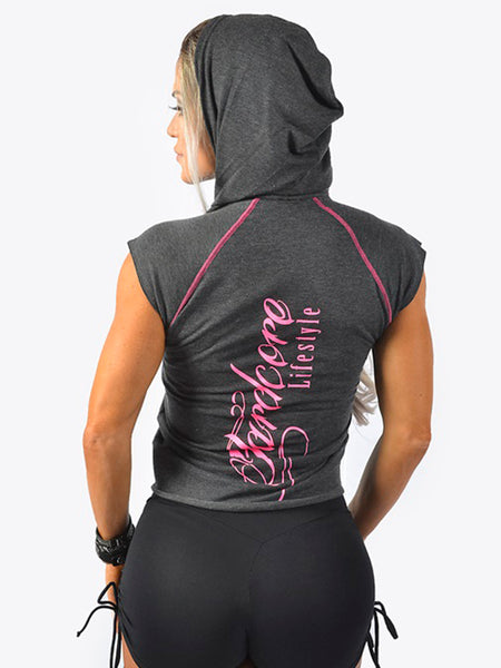 Hooded Cap Sleeve Tank Pink Curly