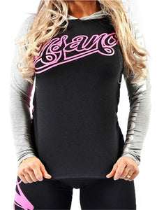 Two Tone Hooded Long Sleeve Pink Print