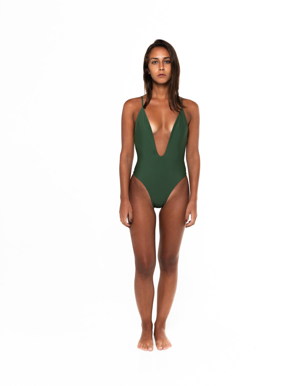 Sonica One Piece Swimsuit in Khaki (front)