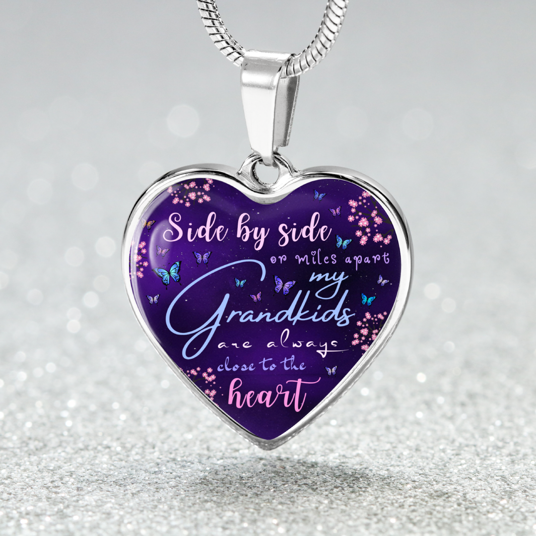 Grandkids Purple Heart Necklace