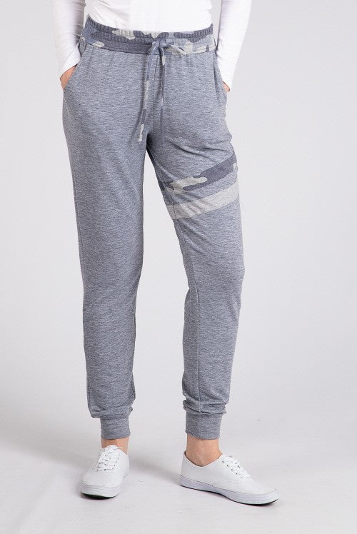 Camo Stripe Joggers-Grey