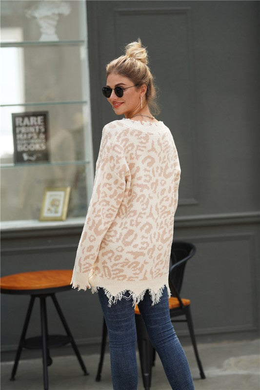 MONA Frayed leopard sweater