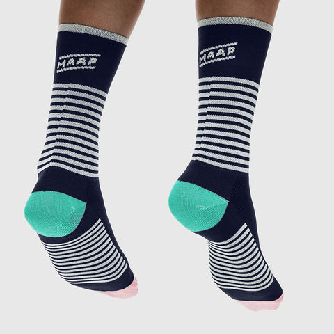 Block Stripe Sock Navy/ White | The CyclingTips Emporium - 1