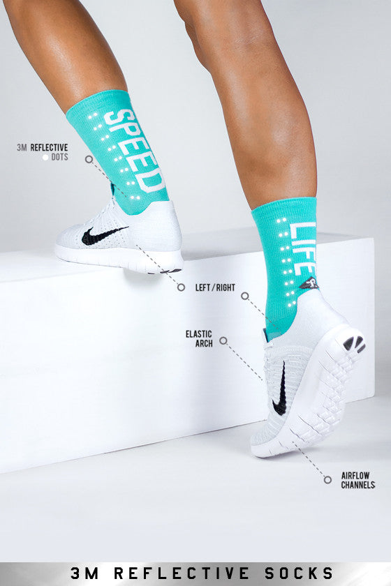 Speed/ Slow Life Turquoise Reflective Sock