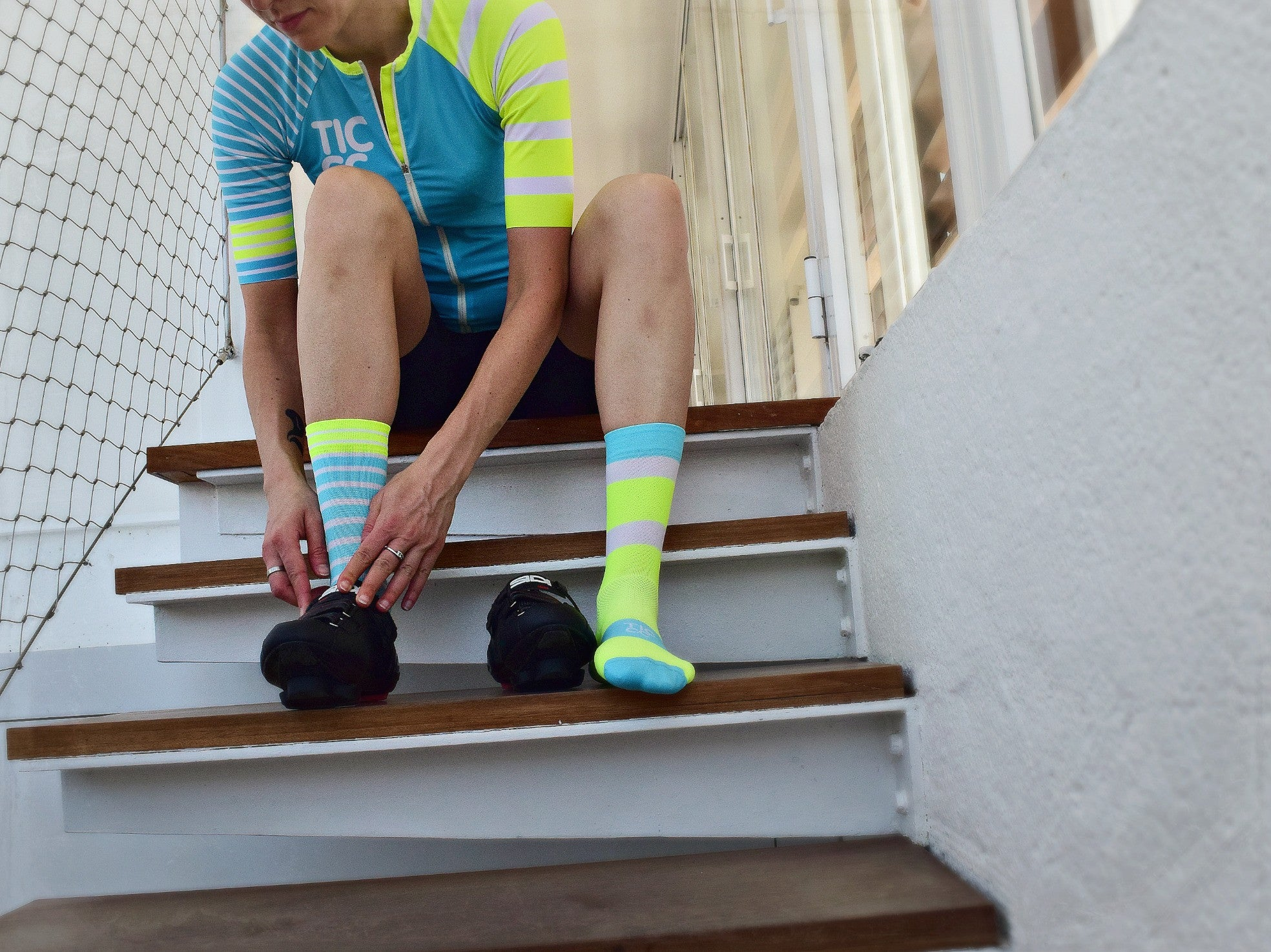 TIC Turquoise/ Yellow À Bloc Socks | The CyclingTips Emporium - 3
