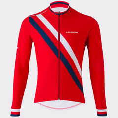 La Passione Winter Diagonal Red Long Sleeve Jersey