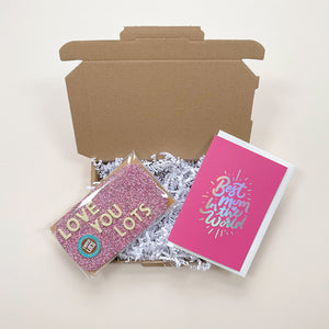 mother's day letterbox gift with mother's day card and chocolate bar