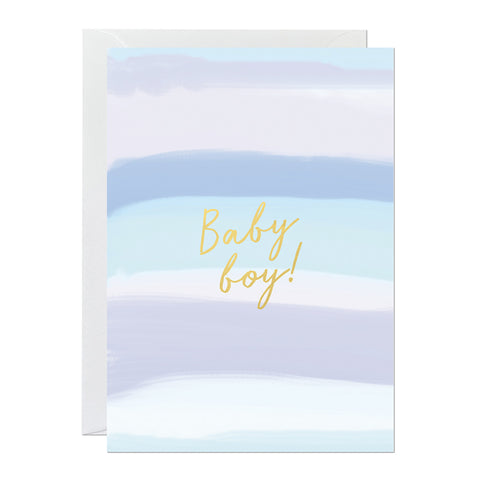 A new baby card featuring a hand-painted canvas and a 'baby boy' greeting printed with gold foil