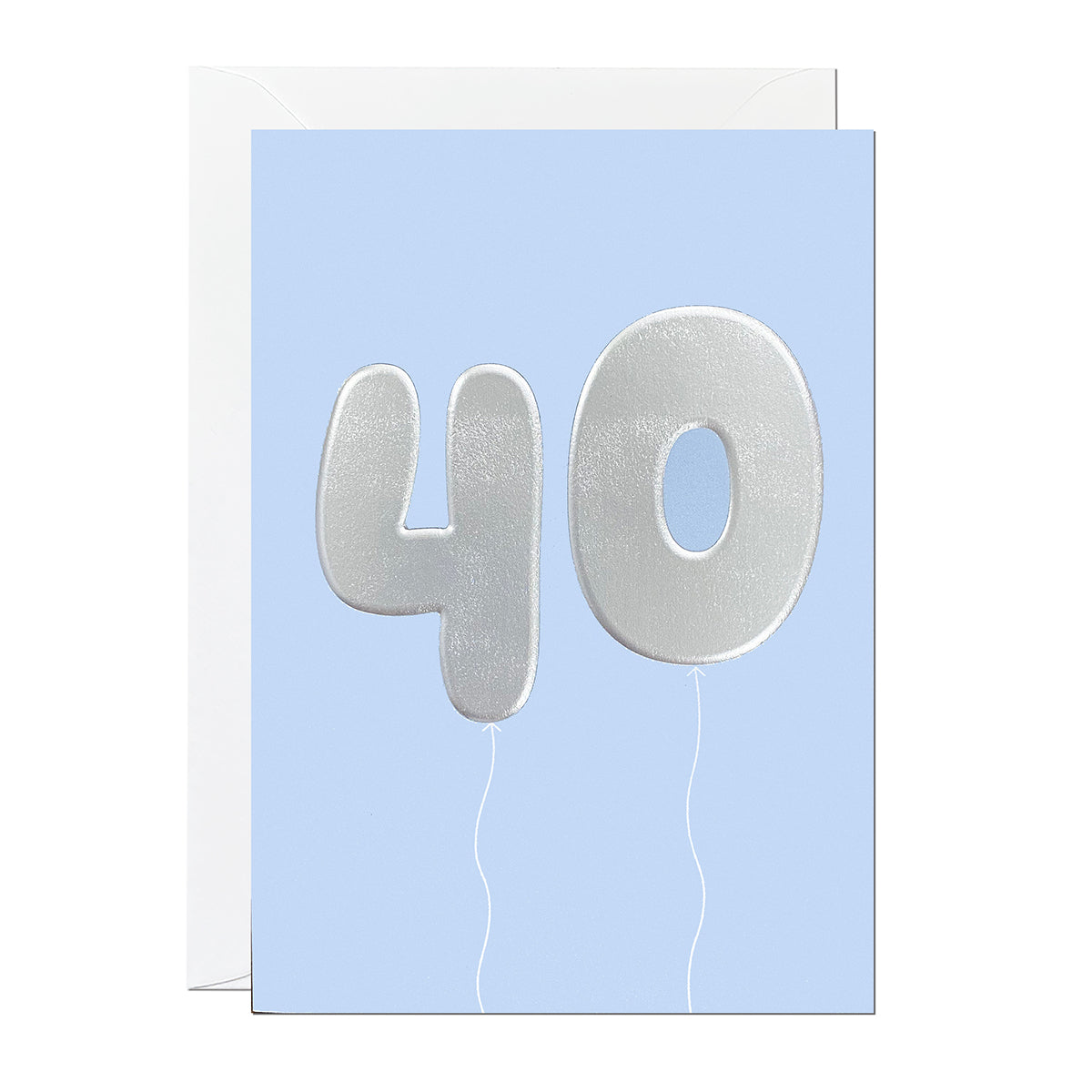 A 40th birthday card featuring big helium balloons printed with an embossed silver foil on a blue card.