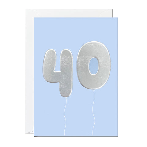 A blue 40th birthday card that has been printed with an embossed silver foil