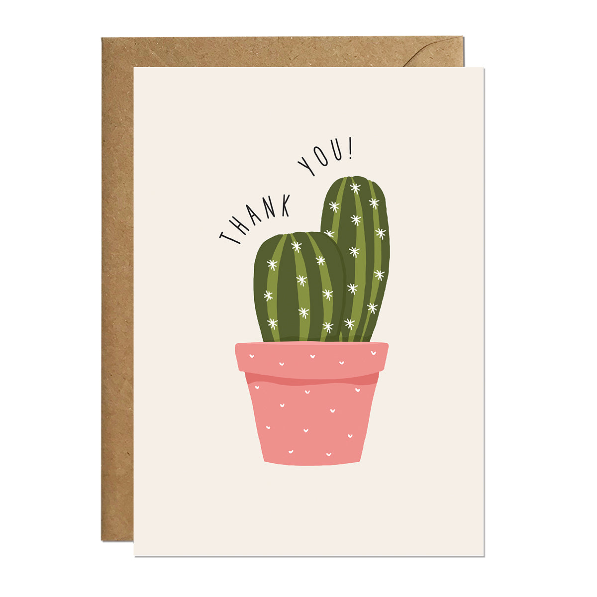 A thank you card featuring an illustration of a potted cactus with the greeting 'thank you'