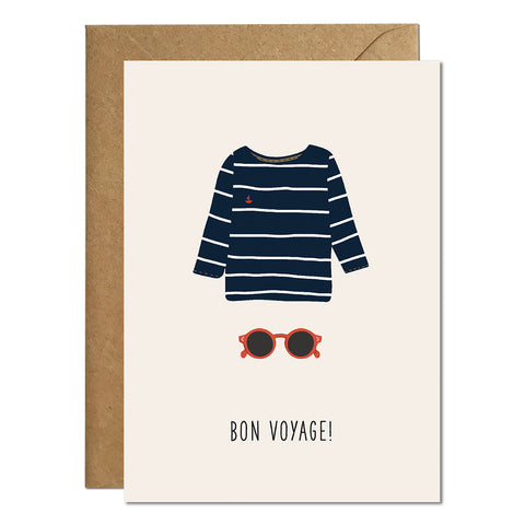 A 'sorry you are leaving' greeting card that features an illustration of a jumper and sunglasses and a 'bon voyage' greeting