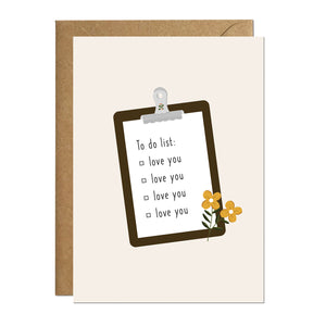 A greeting card with an illustration of a list pad which has a list of to-dos saying 'love you' repeatedly