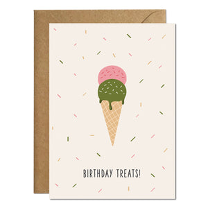A birthday card featuring an illustration of an ice cream with a greeting that reads 'birthday treats' paired with a kraft brown envelope