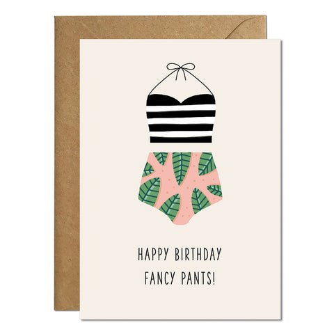 A birthday card featuring an illustration of a women's swimsuit and a greeting that reads 'happy birthday fancy pants'