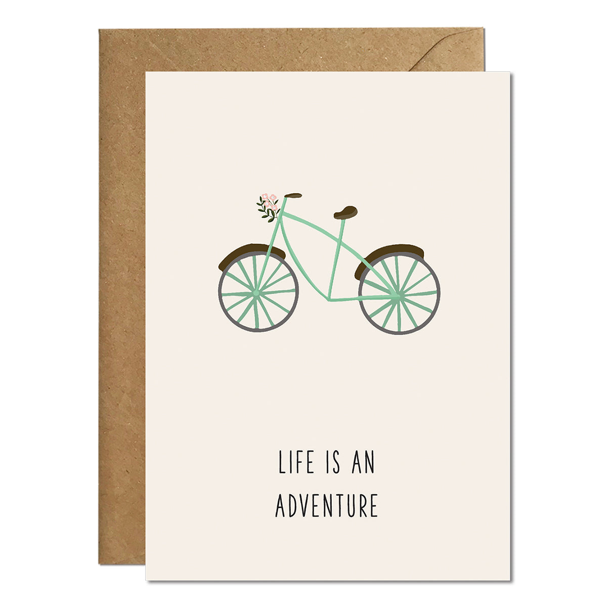 A greeting card with an illustration of a green bike and a greeting that reads 'life is an adventure'