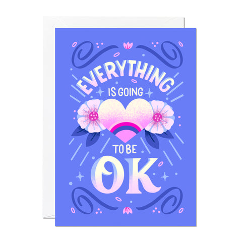 This thinking of you card says 'everything is going to be ok' and features hand lettering an illustration by artist Roselly Monegro.