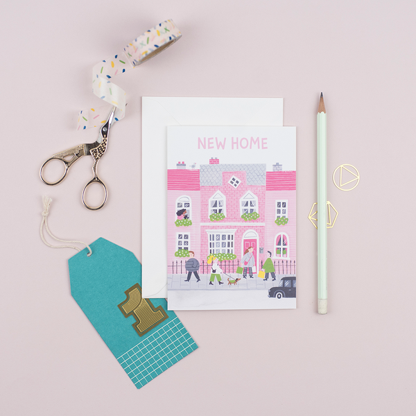 A new home card featuring an illustration of a townhouse.
