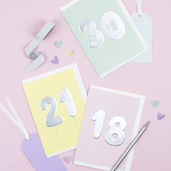 A collection of milestone birthday cards including 18th, 21st and 30th birthday cards