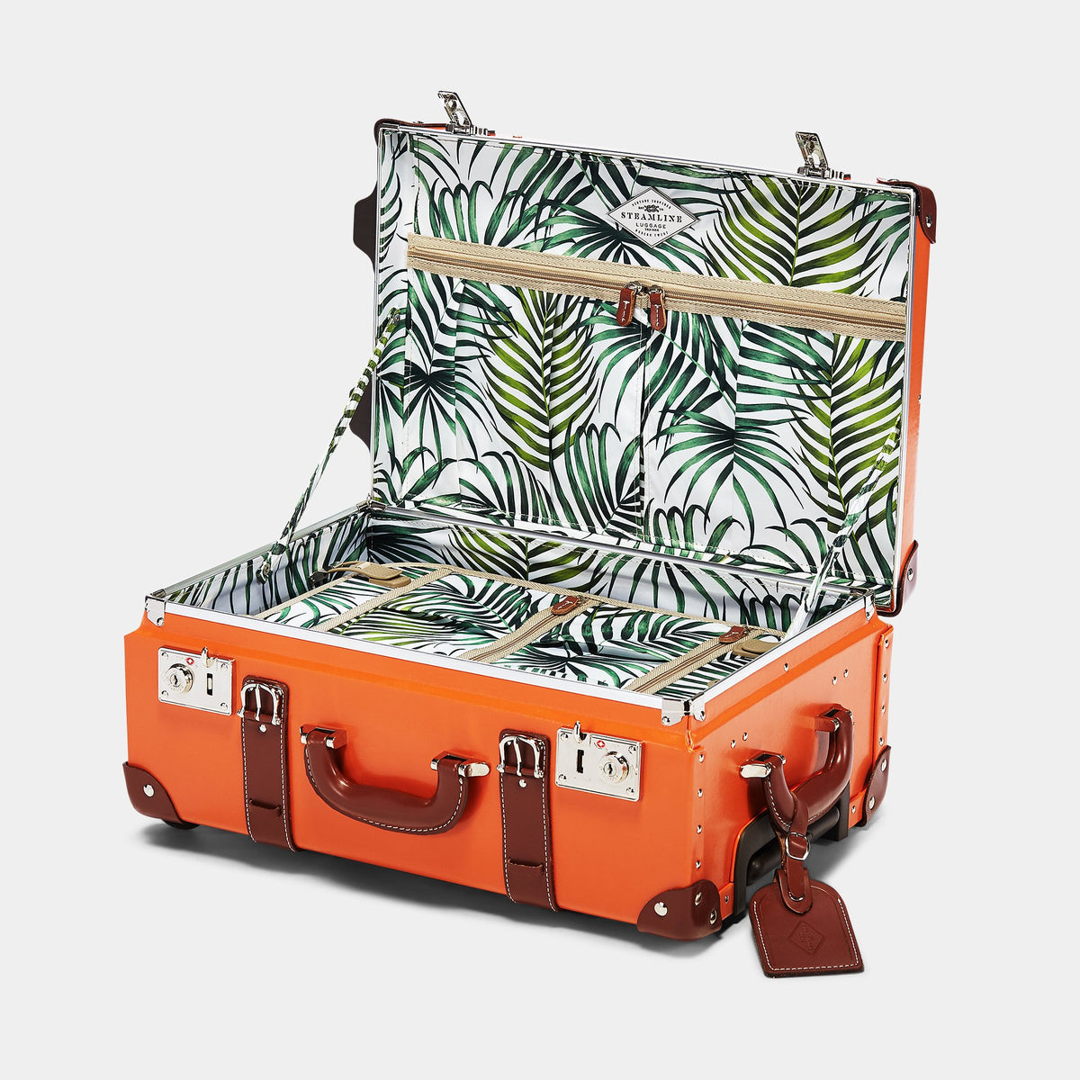The Anthropologist Carryon in Orange - Vintage Style Leather Case - Interior Front