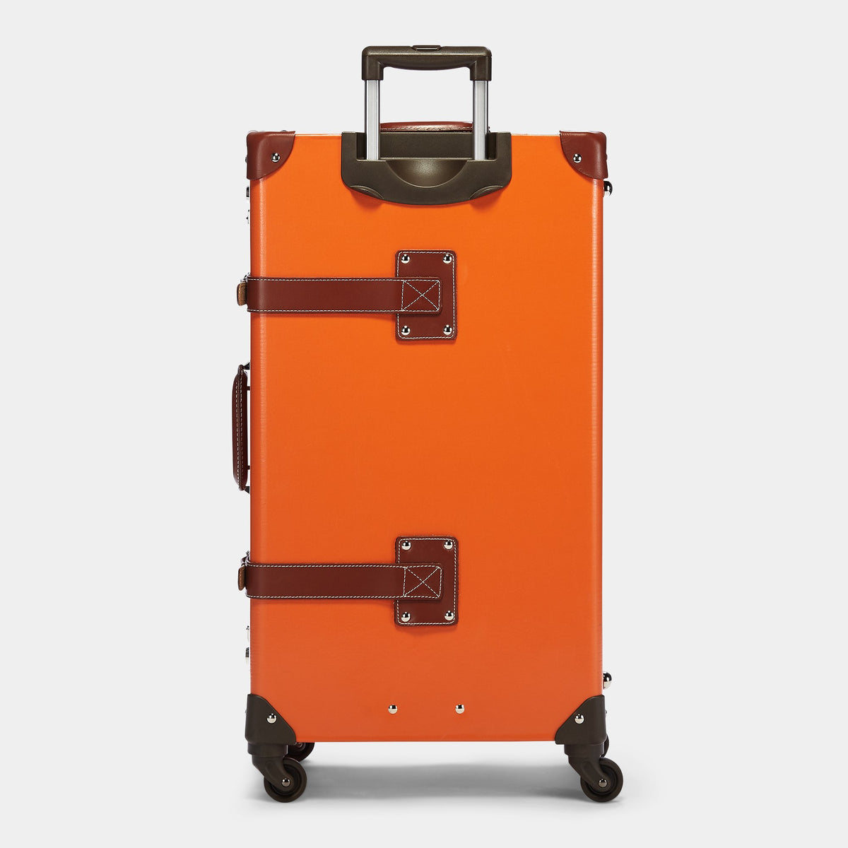 The Anthropologist Spinner in Orange - Vintage Style Leather Case - Exterior Back with Extendable Handle