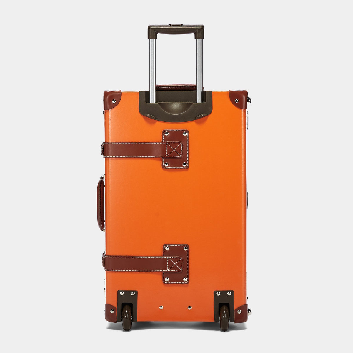 The Anthropologist Stowaway in Orange - Vintage Style Leather Case - Exterior Back with Extendable Handle