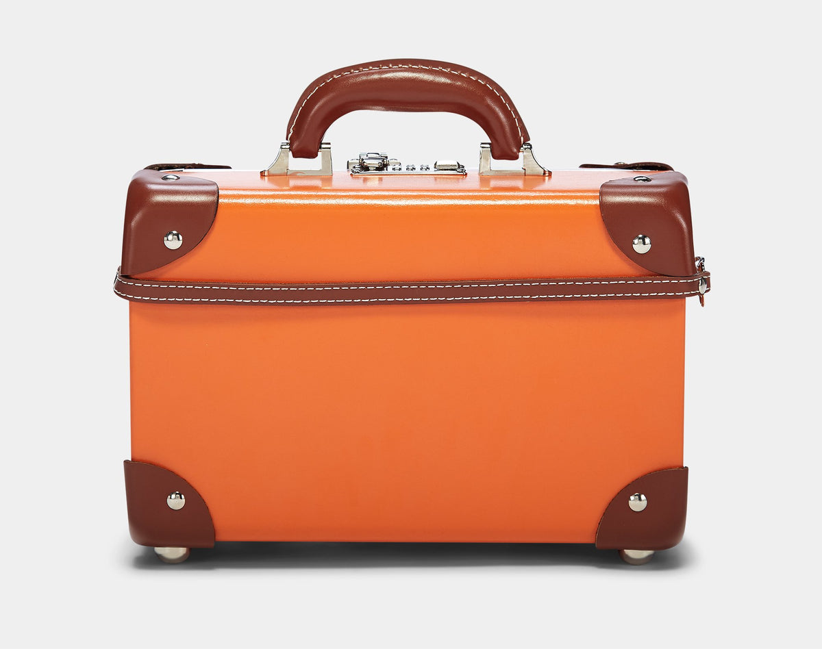 The Anthropologist Vanity in Orange - Vintage Style Leather Case - Exterior Back with Shoulder Strap