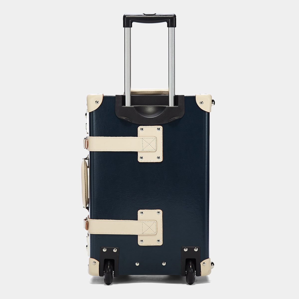 The Anthropologist Carryon in Navy - Vintage Style Leather Case - Exterior Back with Extendable Handle