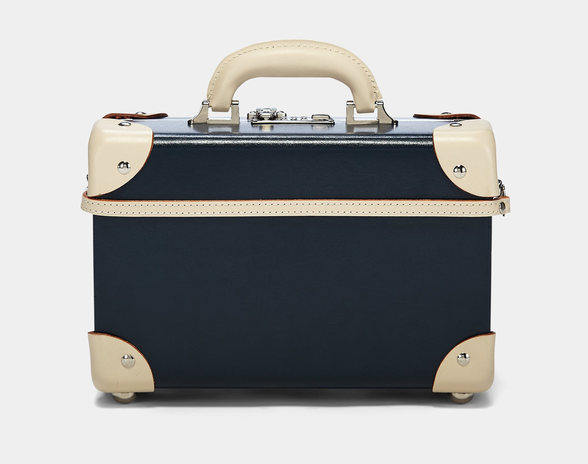The Anthropologist Vanity in Navy - Vintage Style Leather Case - Exterior Back with Shoulder Strap