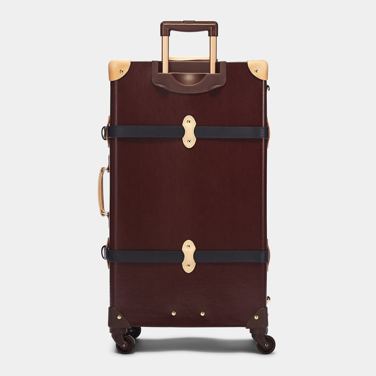 The Architect Spinner in Burgundy - Vintage Style Leather Case - Exterior Back with Extendable Handle