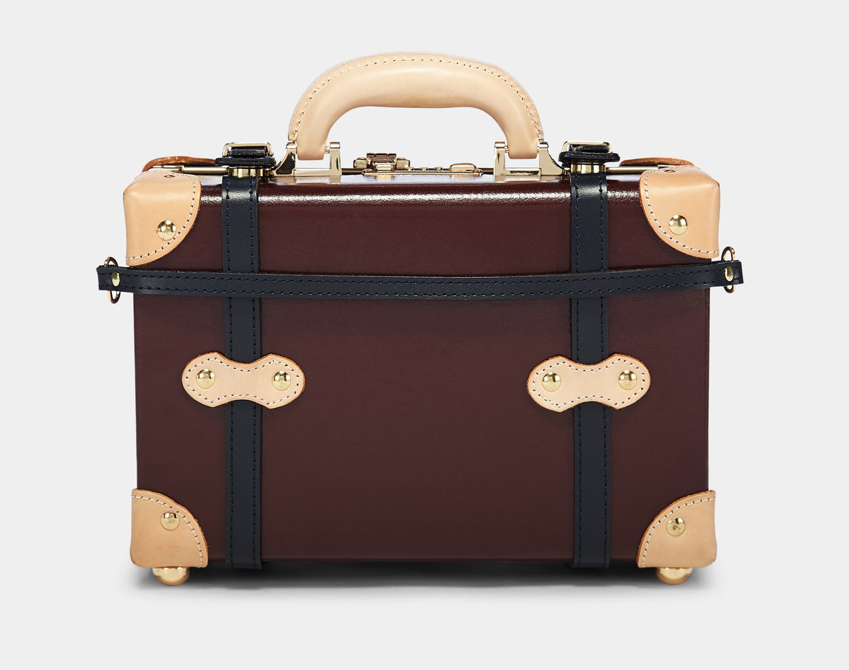 The Architect Vanity in Burgundy - Vintage Style Leather Case - Exterior Back with Shoulder Strap