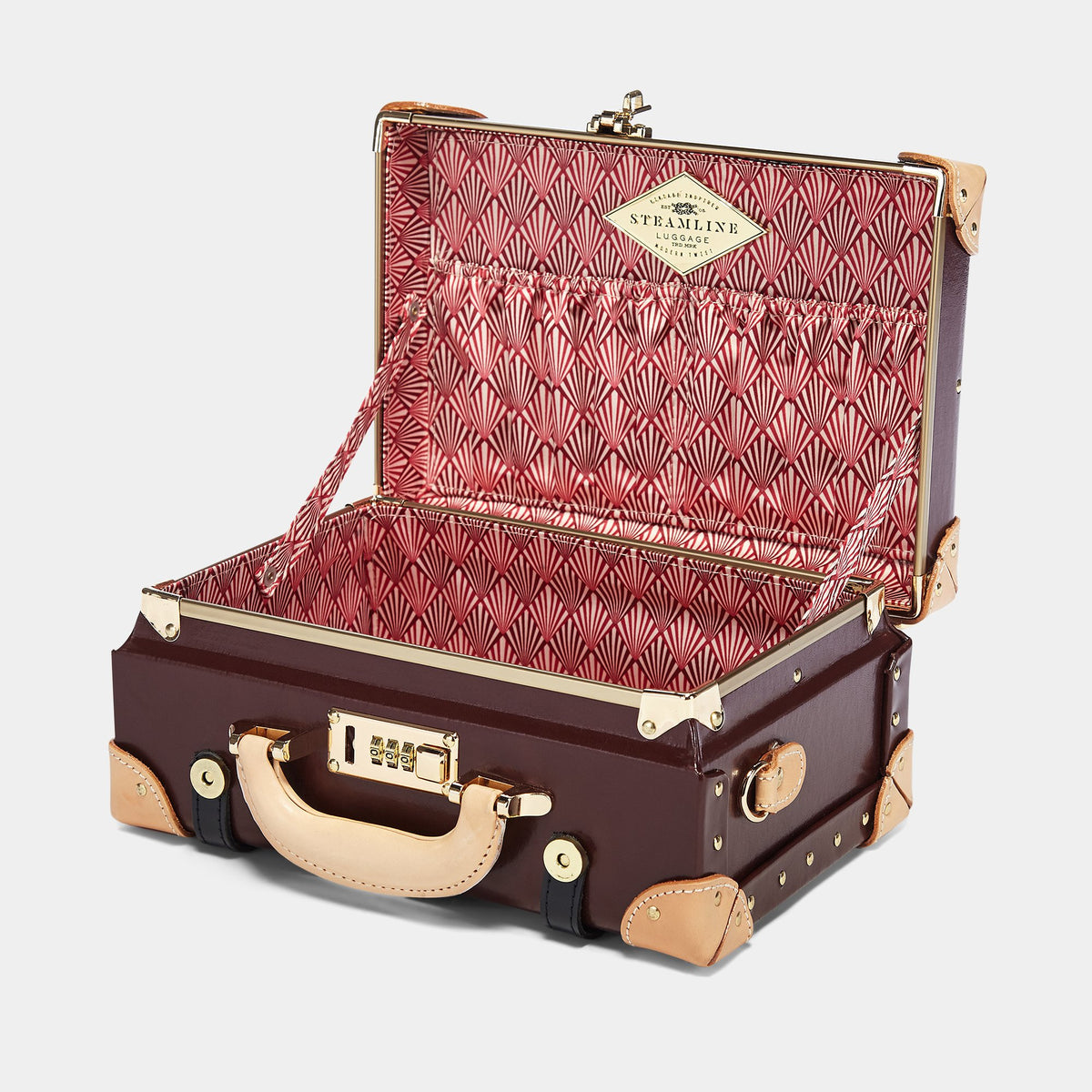 The Architect Vanity in Burgundy - Vintage Style Leather Case - Interior Front