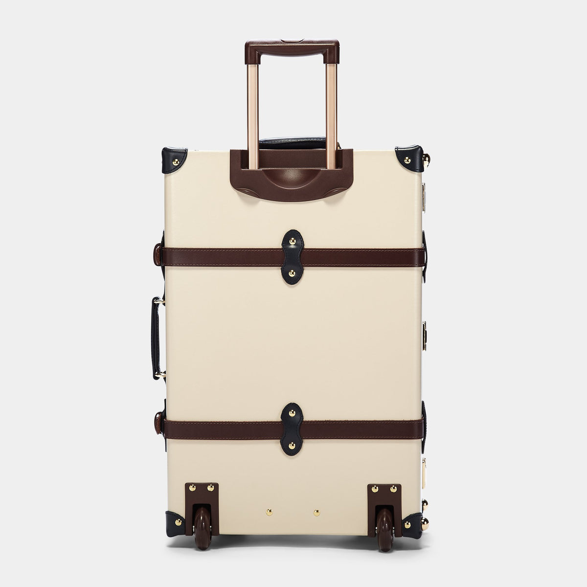 The Architect Stowaway in Cream -Vintage Style Leather Case - Exterior Back with Extendable Handle