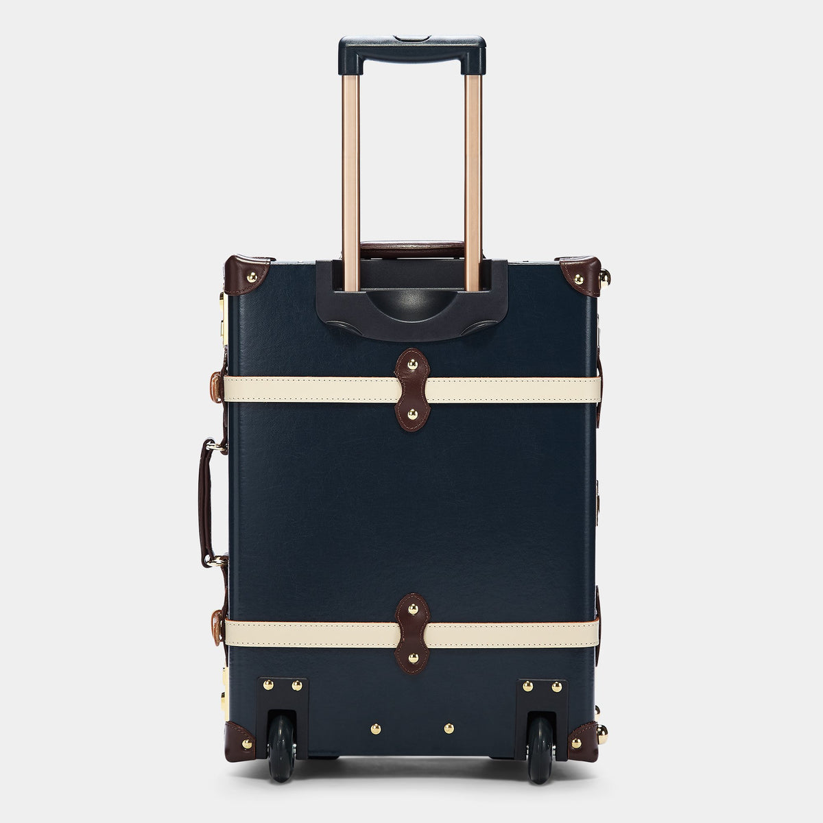 The Architect Carryon in Navy -Vintage Style Leather Case - Exterior Back with Extendable Handle