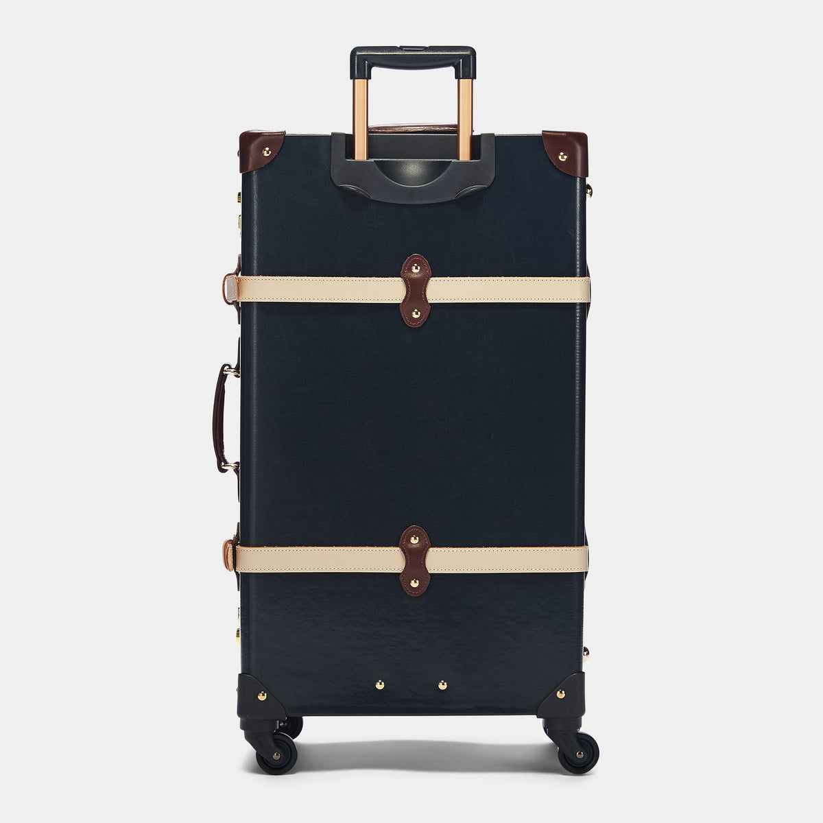 The Architect Spinner in Navy - Vintage Style Leather Case - Exterior Back with Extendable Handles