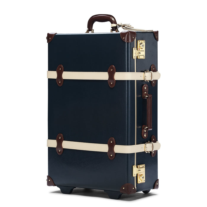 The Architect Stowaway in Navy -Vintage Style Leather Case - Exterior Front