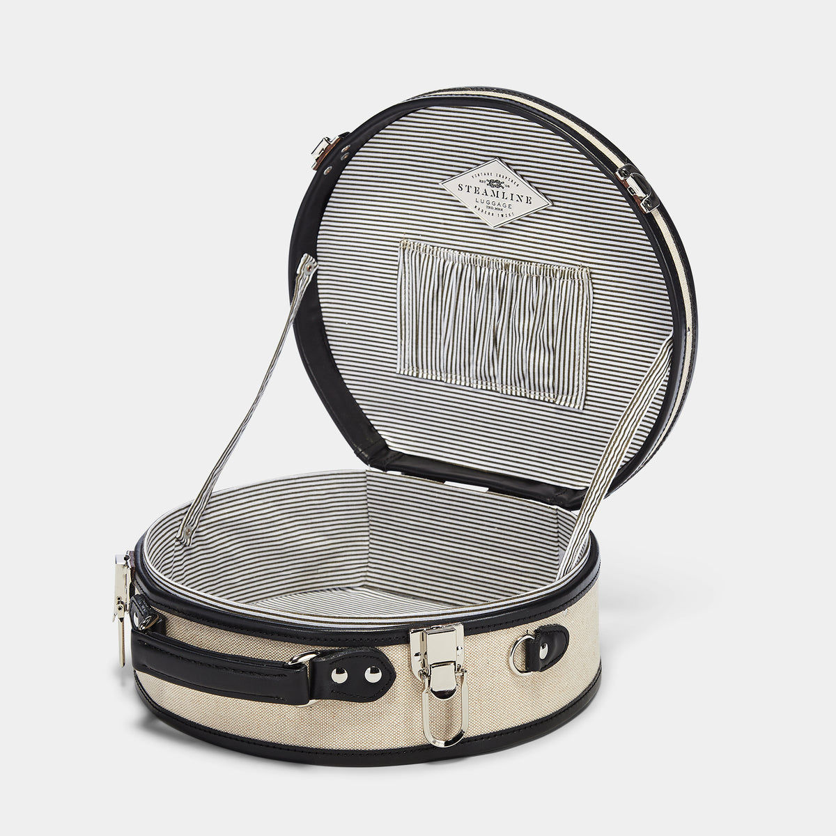 The Editor Hatbox Small in Black - Hat Box Luggage - Interior Front