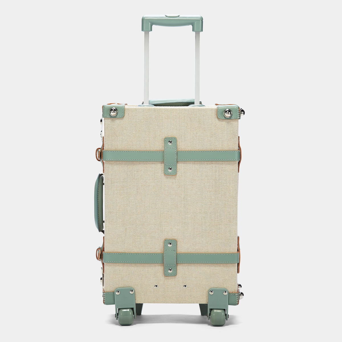 The Editor Carryon in Green - Vintage Style Linen and Leather Case - Exterior Back with Extendable Handles
