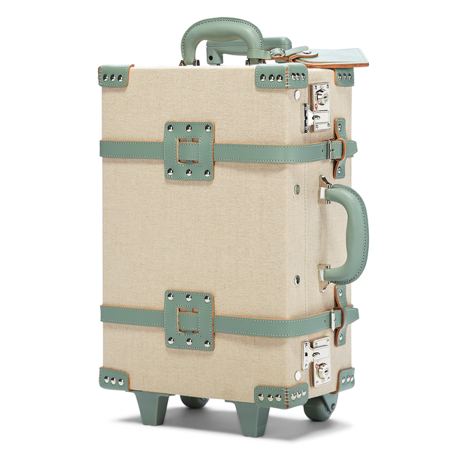 The Editor Sea Green Carryon - Vintage Inspired Carry On - Exterior Front